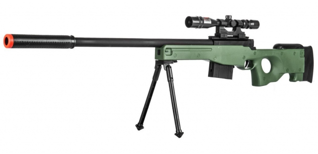300 FPS - Airsoft Sniper Spring Rifle Gun with Scope and Laser (Green)
